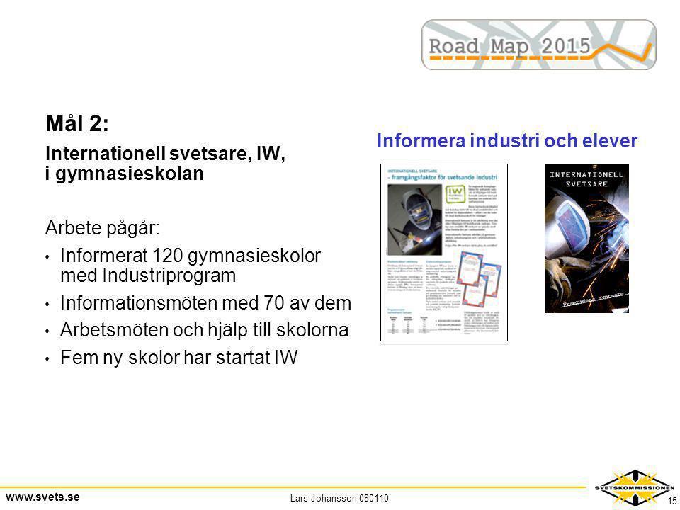 Lars Johansson 080110 www.svets.se 15 Mål 2: Internationell svetsare, IW, i gymnasieskolan Arbete pågår: • Informerat 120 gymnasieskolor med Industrip