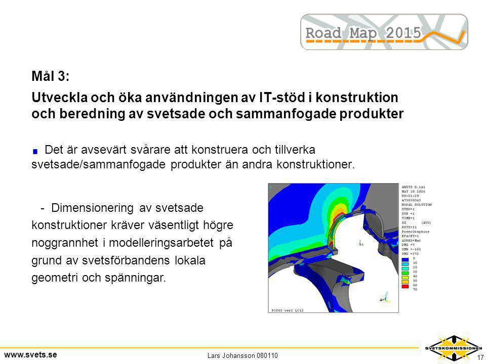 Lars Johansson 080110 www.svets.se 17 Mål 3: Utveckla och öka användningen av IT-stöd i konstruktion och beredning av svetsade och sammanfogade produk