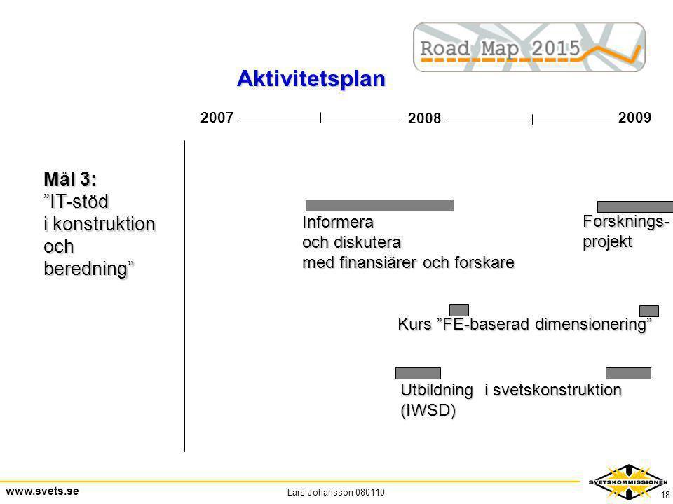 """Lars Johansson 080110 www.svets.se 18 2008 20092007 Mål 3: """"IT-stöd i konstruktion ochberedning"""" Informera och diskutera med finansiärer och forskare"""