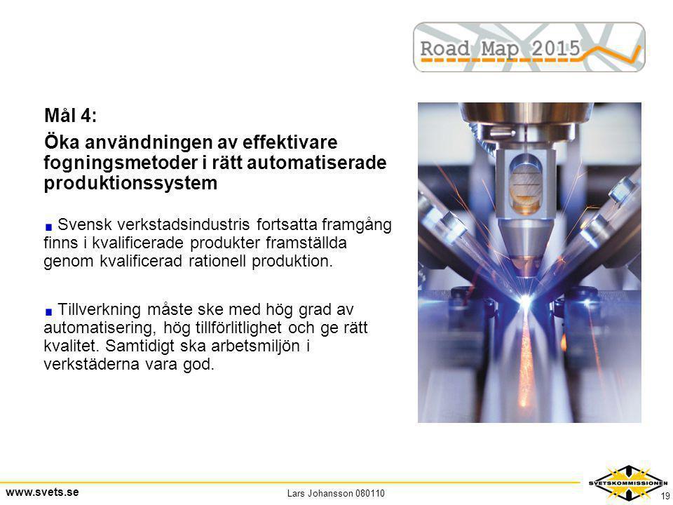 Lars Johansson 080110 www.svets.se 19 Mål 4: Öka användningen av effektivare fogningsmetoder i rätt automatiserade produktionssystem Svensk verkstadsi