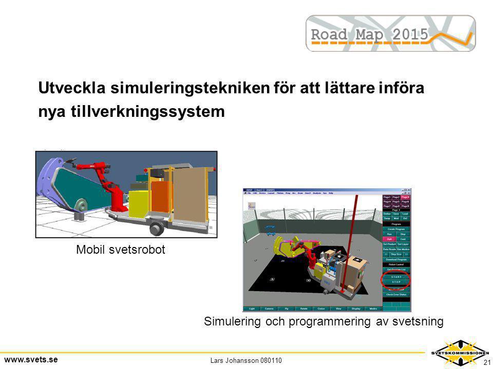 Lars Johansson 080110 www.svets.se 21 Utveckla simuleringstekniken för att lättare införa nya tillverkningssystem Mobil svetsrobot Simulering och prog