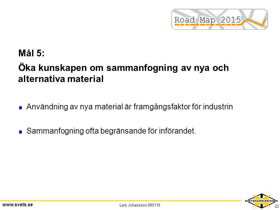 Lars Johansson 080110 www.svets.se 22 Mål 5: Öka kunskapen om sammanfogning av nya och alternativa material Användning av nya material är framgångsfak