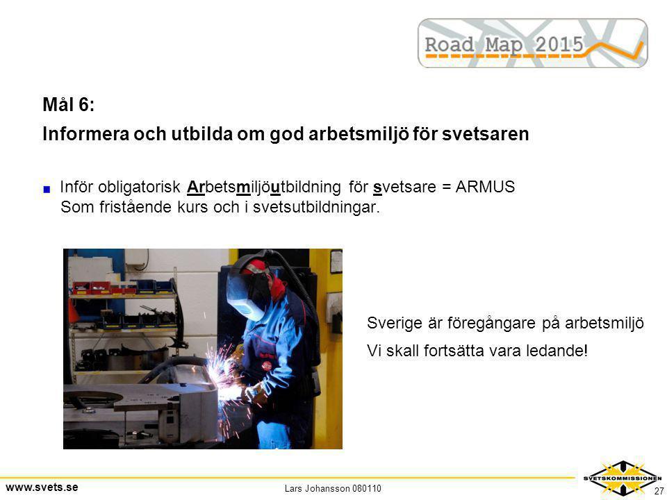 Lars Johansson 080110 www.svets.se 27 Mål 6: Informera och utbilda om god arbetsmiljö för svetsaren Inför obligatorisk Arbetsmiljöutbildning för svets