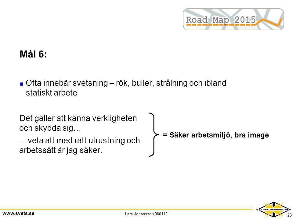 Lars Johansson 080110 www.svets.se 28 Mål 6: Ofta innebär svetsning – rök, buller, strålning och ibland statiskt arbete Det gäller att känna verklighe
