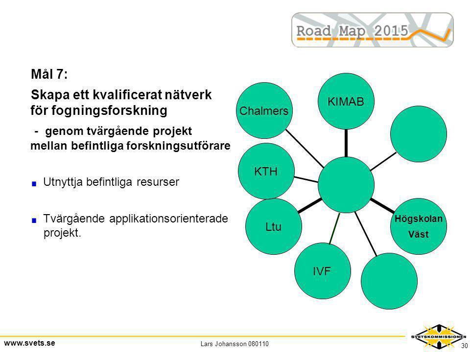 Lars Johansson 080110 www.svets.se 30 Mål 7: Skapa ett kvalificerat nätverk för fogningsforskning - genom tvärgående projekt mellan befintliga forskni