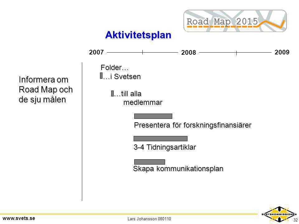 Lars Johansson 080110 www.svets.se 32 2008 20092007 Informera om Road Map och de sju målen Folder… …i Svetsen …i Svetsen …till alla …till alla medlemm