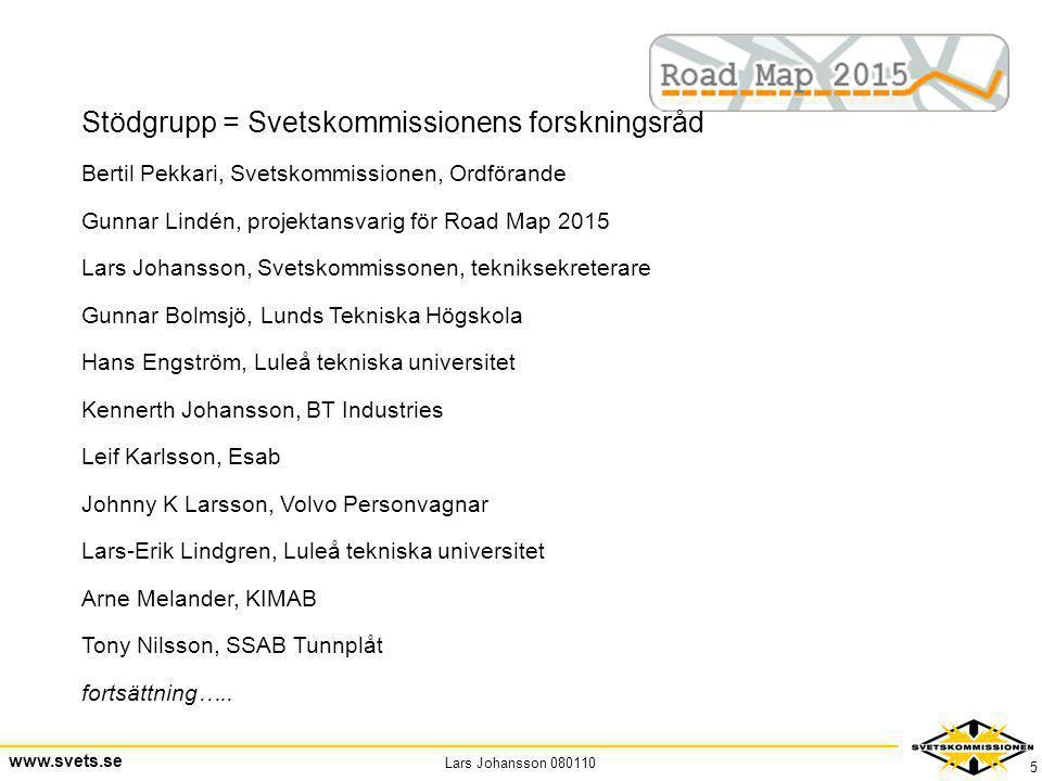 Lars Johansson 080110 www.svets.se 5 Stödgrupp = Svetskommissionens forskningsråd Bertil Pekkari, Svetskommissionen, Ordförande Gunnar Lindén, projekt