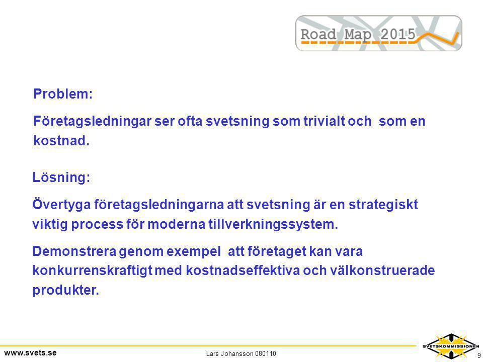 Lars Johansson 080110 www.svets.se 9 Problem: Företagsledningar ser ofta svetsning som trivialt och som en kostnad. Lösning: Övertyga företagsledninga