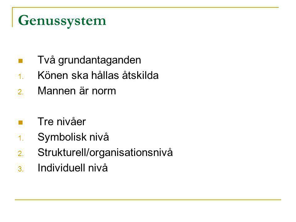 Genussystem  Två grundantaganden 1. Könen ska hållas åtskilda 2. Mannen är norm  Tre nivåer 1. Symbolisk nivå 2. Strukturell/organisationsnivå 3. In