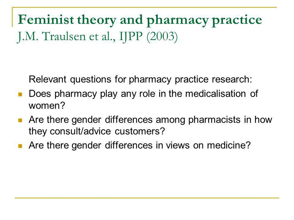 Feminist theory and pharmacy practice J.M.