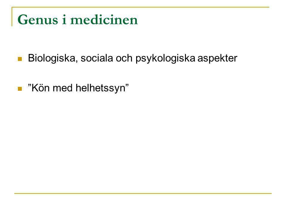 """Genus i medicinen  Biologiska, sociala och psykologiska aspekter  """"Kön med helhetssyn"""""""