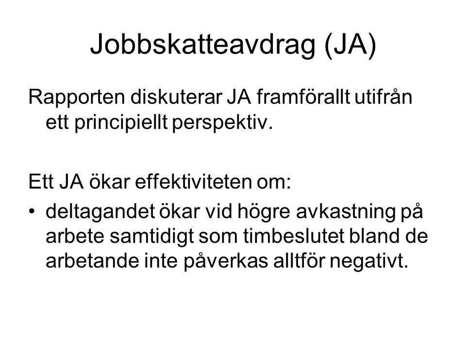 Jobbskatteavdrag (JA) Rapporten diskuterar JA framförallt utifrån ett principiellt perspektiv.