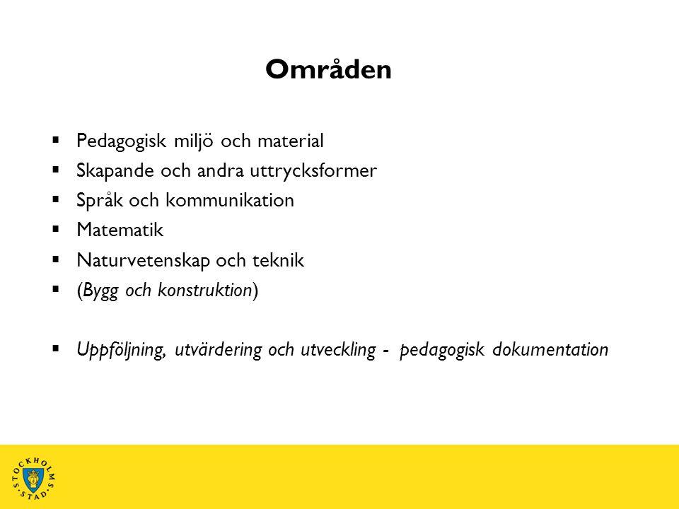 Områden  Pedagogisk miljö och material  Skapande och andra uttrycksformer  Språk och kommunikation  Matematik  Naturvetenskap och teknik  (Bygg och konstruktion)  Uppföljning, utvärdering och utveckling - pedagogisk dokumentation