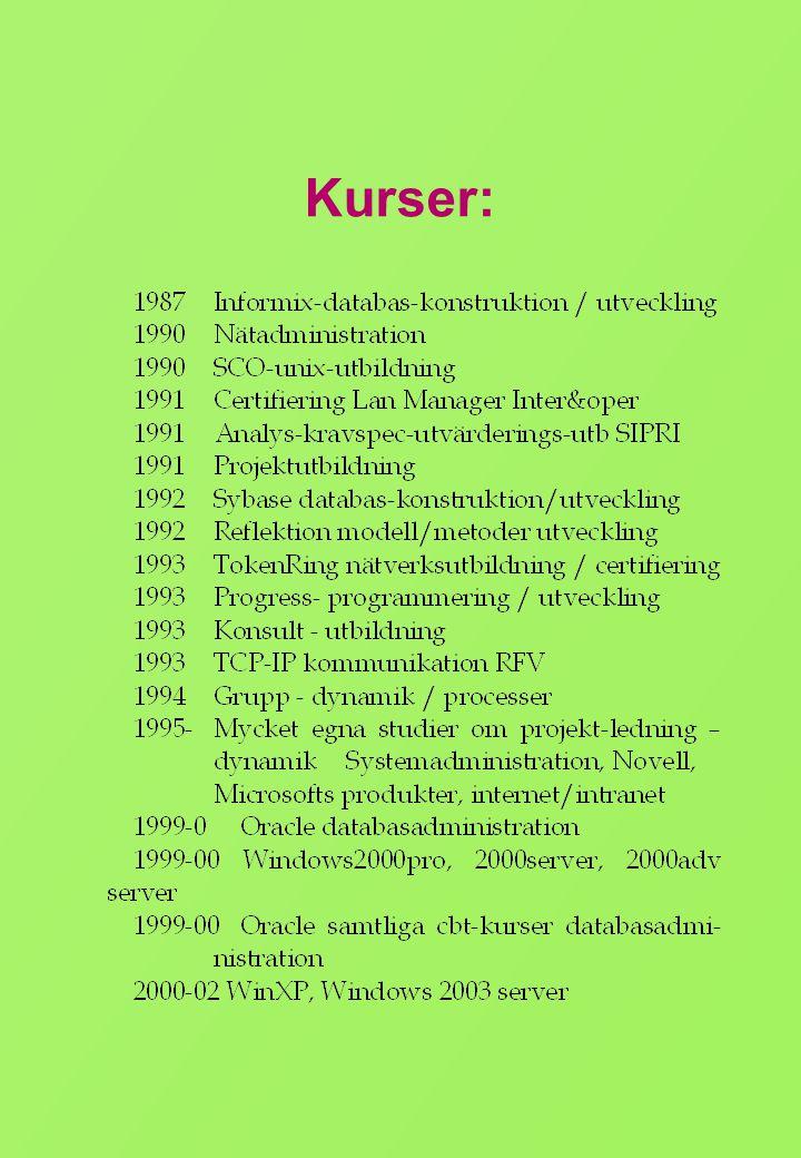 Meritlista • Anställning – Lagerbiträde, Daghlbergs Bil AB Älmhult 1968 -70 – Verkstadskontorist, Göinge Bil AB Älmhult 1970 - 72 – Delägare ansvarsområde kontor, lager,verkmästare, Auto i Älmhult AB Älmhult 1972 - 74 – Försäljare, Växjöbagaren AB Växjö 1974 - 75 – Programmerare, Ekonomkonsult I Växjö AB, Växjö 1979 - 80 – Datakonsult, Modulföretagen AB Stockholm 1980 - 81 – Larm-/data- operatör, SOS alarmering AB Växjö 1981 - 84 – Systemutvecklare, Datalaget i Växjö AB Växjö 1984 - 85 – Projektledare ADB (ADB-ansvarig/IT- samordnare), Försäkringskassan Kronoberg Växjö 1985 - 97 – IT-administratör, Kungsmadskolan, Växjö 1997 - 98 – Systemkonsult, IST Swerige AB Växjö 1998 - 2000 – Systemansvarig, Landstinget FTV Växjö 2000 -