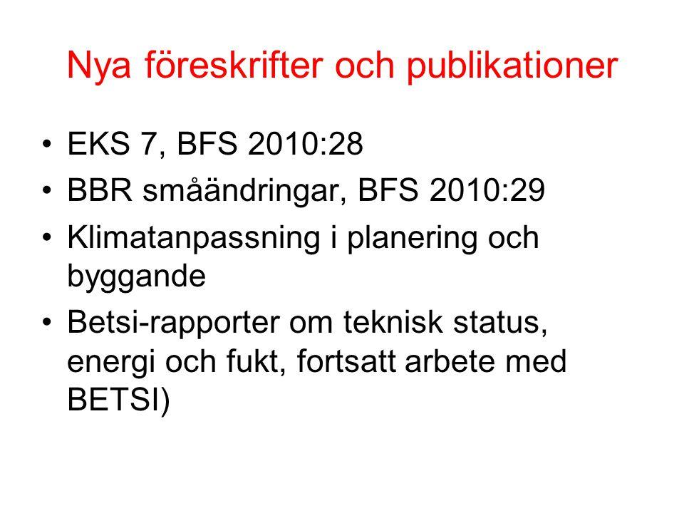 Nya föreskrifter och publikationer •EKS 7, BFS 2010:28 •BBR småändringar, BFS 2010:29 •Klimatanpassning i planering och byggande •Betsi-rapporter om teknisk status, energi och fukt, fortsatt arbete med BETSI)