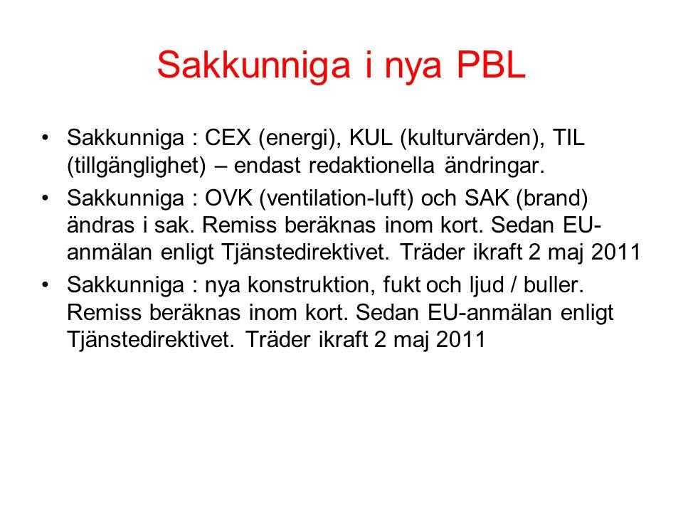 Sakkunniga i nya PBL •Sakkunniga : CEX (energi), KUL (kulturvärden), TIL (tillgänglighet) – endast redaktionella ändringar.