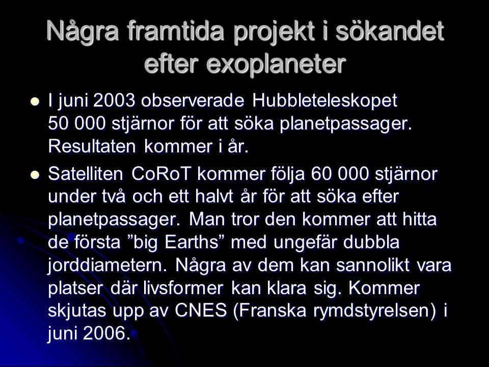 Några framtida projekt i sökandet efter exoplaneter  I juni 2003 observerade Hubbleteleskopet 50 000 stjärnor för att söka planetpassager. Resultaten