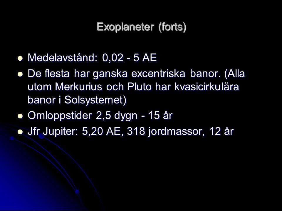 Detektion av exoplaneter Indirekta metoder  Radialhastighetsmätningar av stjärnor  Detektion av planetpassager (Planeten passerar framför stjärnan och förmörkar den.) Direkt metod  Bilder av planeter (Ännu ej lyckats då stjärnorna i regel är minst en miljard ggr ljusstarkare än sina planeter och ligger nära dem på himlen).