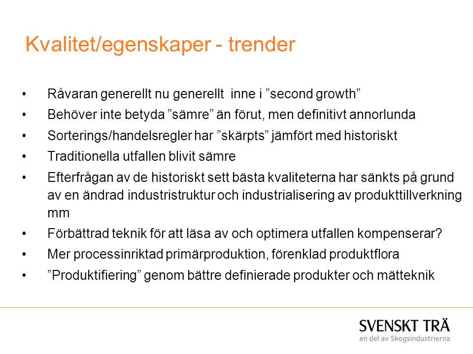 """Kvalitet/egenskaper - trender •Råvaran generellt nu generellt inne i """"second growth"""" •Behöver inte betyda """"sämre"""" än förut, men definitivt annorlunda"""