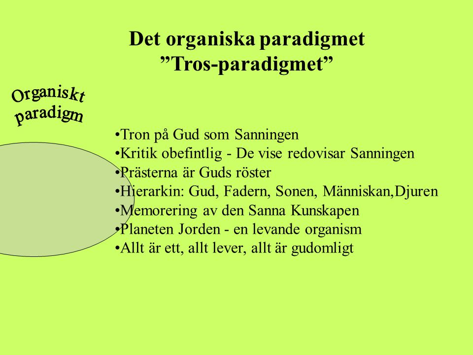 """Det organiska paradigmet """"Tros-paradigmet"""" •Tron på Gud som Sanningen •Kritik obefintlig - De vise redovisar Sanningen •Prästerna är Guds röster •Hier"""
