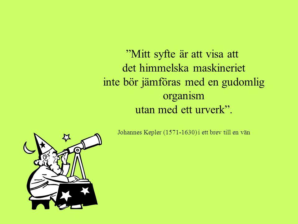 """""""Mitt syfte är att visa att det himmelska maskineriet inte bör jämföras med en gudomlig organism utan med ett urverk"""". Johannes Kepler (1571-1630) i e"""