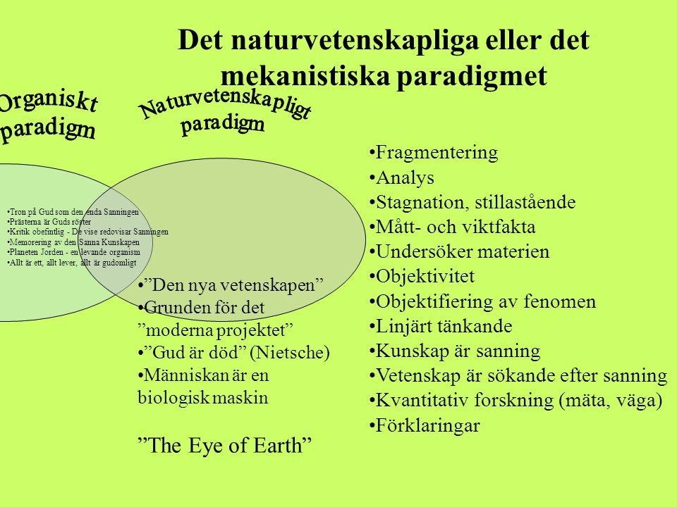 Det naturvetenskapliga eller det mekanistiska paradigmet •Tron på Gud som den enda Sanningen •Prästerna är Guds röster •Kritik obefintlig - De vise re