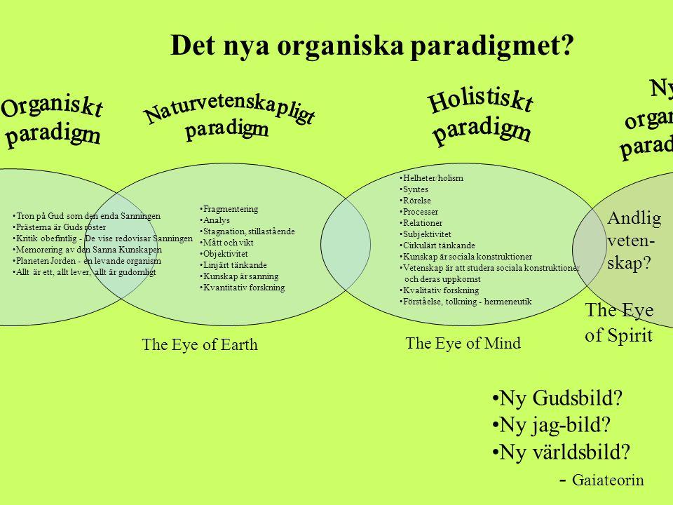 Det nya organiska paradigmet? •Tron på Gud som den enda Sanningen •Prästerna är Guds röster •Kritik obefintlig - De vise redovisar Sanningen •Memoreri