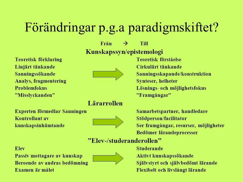 Förändringar p.g.a paradigmskiftet? Från  Till Kunskapssyn/epistemologi Teoretisk förklaringTeoretisk förståelse Linjärt tänkandeCirkulärt tänkande S