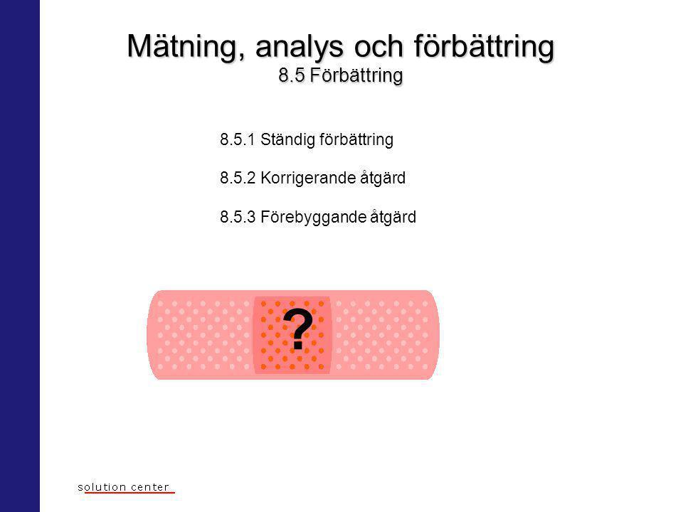 Mätning, analys och förbättring 8.5 Förbättring 8.5.1 Ständig förbättring 8.5.2 Korrigerande åtgärd 8.5.3 Förebyggande åtgärd ?
