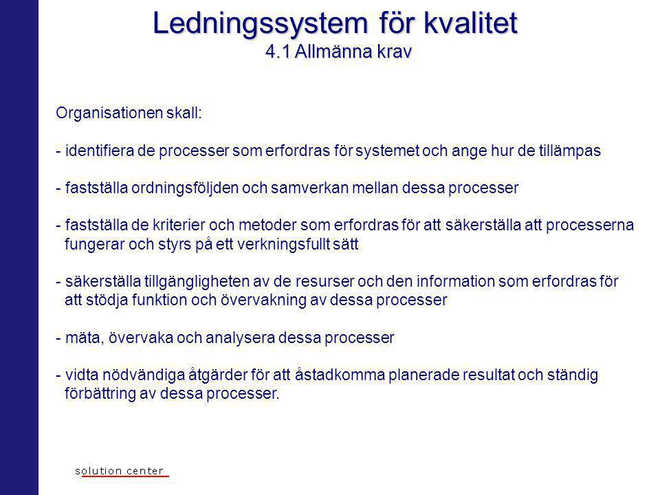 Ledningssystem för kvalitet 4.1 Allmänna krav Organisationen skall: - identifiera de processer som erfordras för systemet och ange hur de tillämpas -