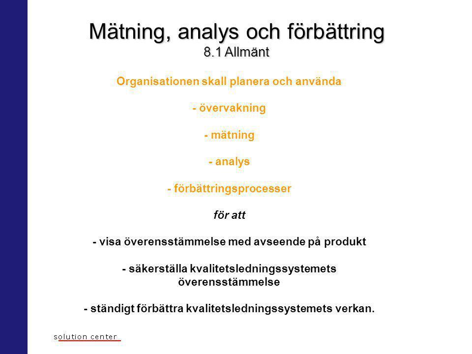 Mätning, analys och förbättring 8.1 Allmänt Organisationen skall planera och använda - övervakning - mätning - analys - förbättringsprocesser för att
