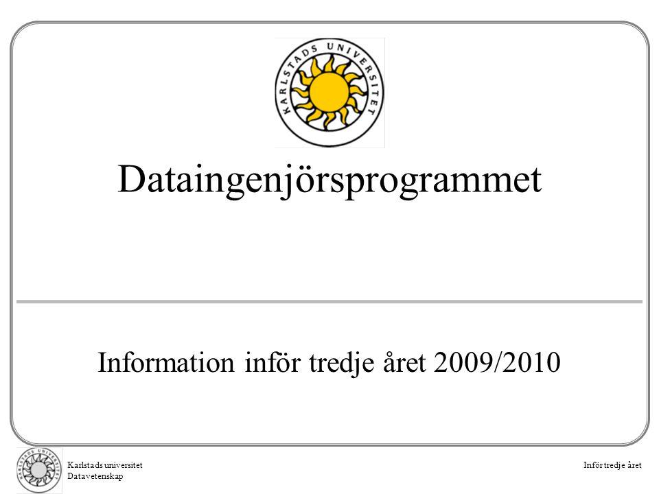 Karlstads universitet Datavetenskap Inför tredje året Dataingenjörsprogrammet Information inför tredje året 2009/2010