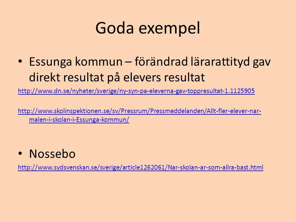 Goda exempel • Essunga kommun – förändrad lärarattityd gav direkt resultat på elevers resultat http://www.dn.se/nyheter/sverige/ny-syn-pa-eleverna-gav-toppresultat-1.1125905 http://www.skolinspektionen.se/sv/Pressrum/Pressmeddelanden/Allt-fler-elever-nar- malen-i-skolan-i-Essunga-kommun/ • Nossebo http://www.sydsvenskan.se/sverige/article1262061/Nar-skolan-ar-som-allra-bast.html