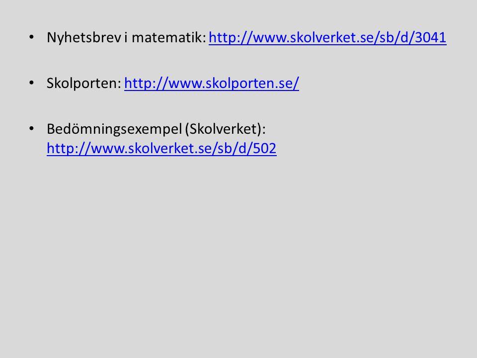 • Nyhetsbrev i matematik: http://www.skolverket.se/sb/d/3041http://www.skolverket.se/sb/d/3041 • Skolporten: http://www.skolporten.se/http://www.skolporten.se/ • Bedömningsexempel (Skolverket): http://www.skolverket.se/sb/d/502 http://www.skolverket.se/sb/d/502