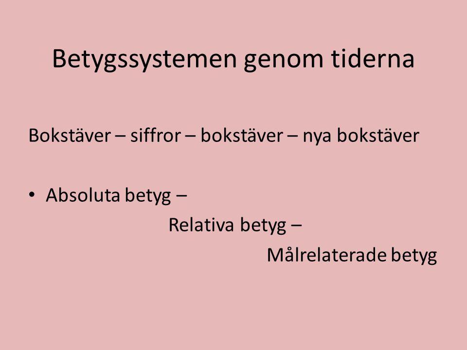 Betygssystemen genom tiderna Bokstäver – siffror – bokstäver – nya bokstäver • Absoluta betyg – Relativa betyg – Målrelaterade betyg