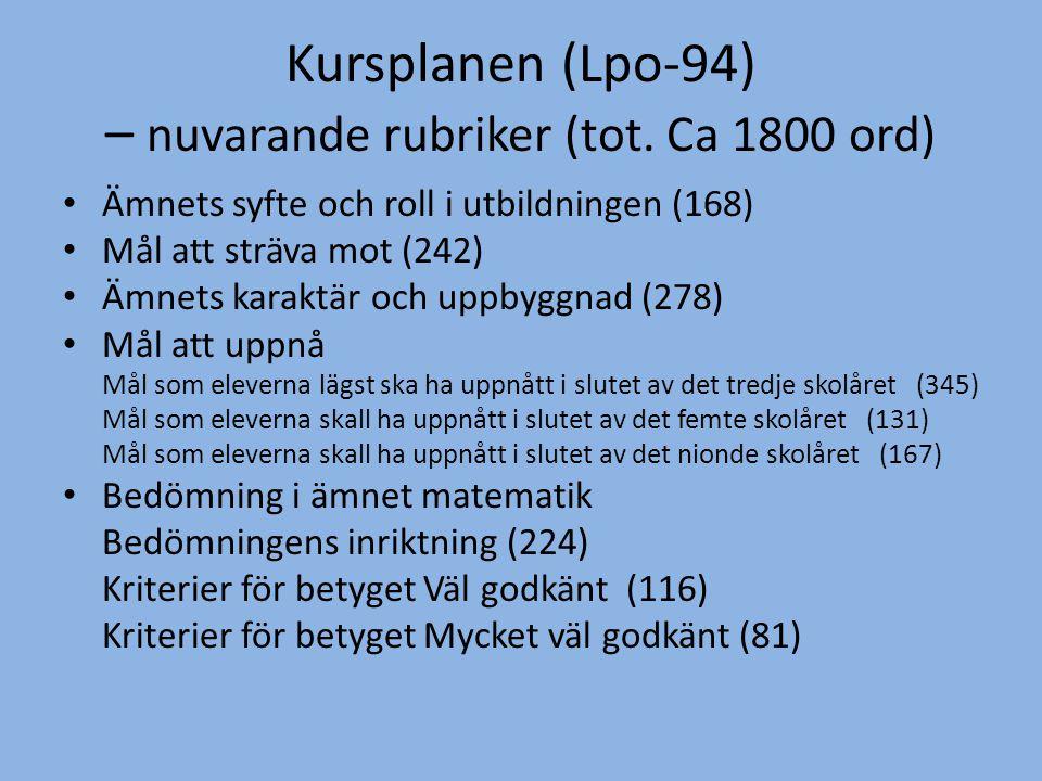 Kursplanen (Lpo-94) – nuvarande rubriker (tot.