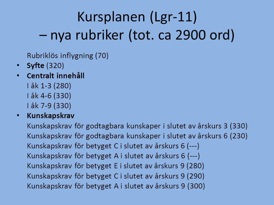 Kursplanen (Lgr-11) – nya rubriker (tot. ca 2900 ord) Rubriklös inflygning (70) • Syfte (320) • Centralt innehåll I åk 1-3 (280) I åk 4-6 (330) I åk 7