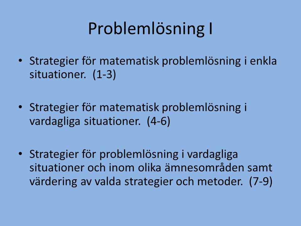 Problemlösning I • Strategier för matematisk problemlösning i enkla situationer. (1-3) • Strategier för matematisk problemlösning i vardagliga situati
