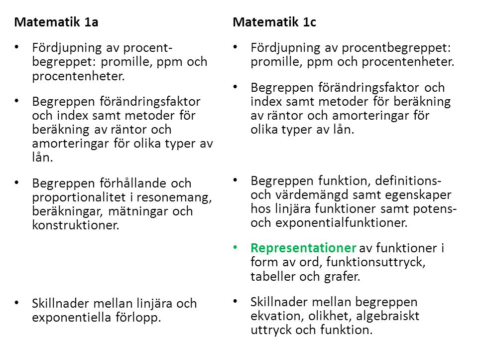 Matematik 1a • Fördjupning av procent- begreppet: promille, ppm och procentenheter. • Begreppen förändringsfaktor och index samt metoder för beräkning
