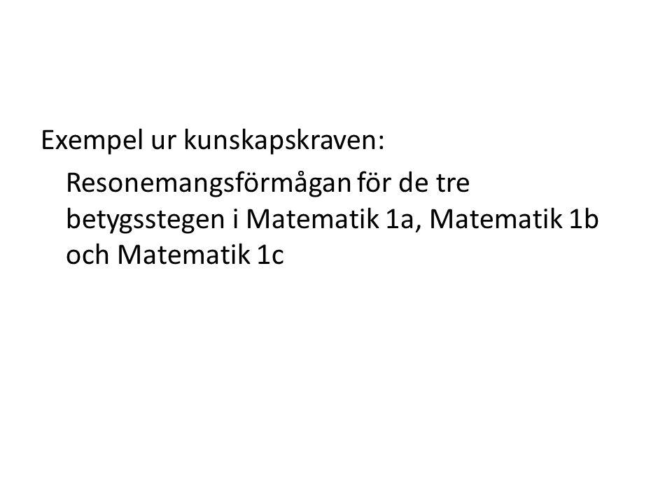 Exempel ur kunskapskraven: Resonemangsförmågan för de tre betygsstegen i Matematik 1a, Matematik 1b och Matematik 1c