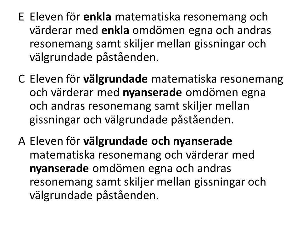 EEleven för enkla matematiska resonemang och värderar med enkla omdömen egna och andras resonemang samt skiljer mellan gissningar och välgrundade påståenden.