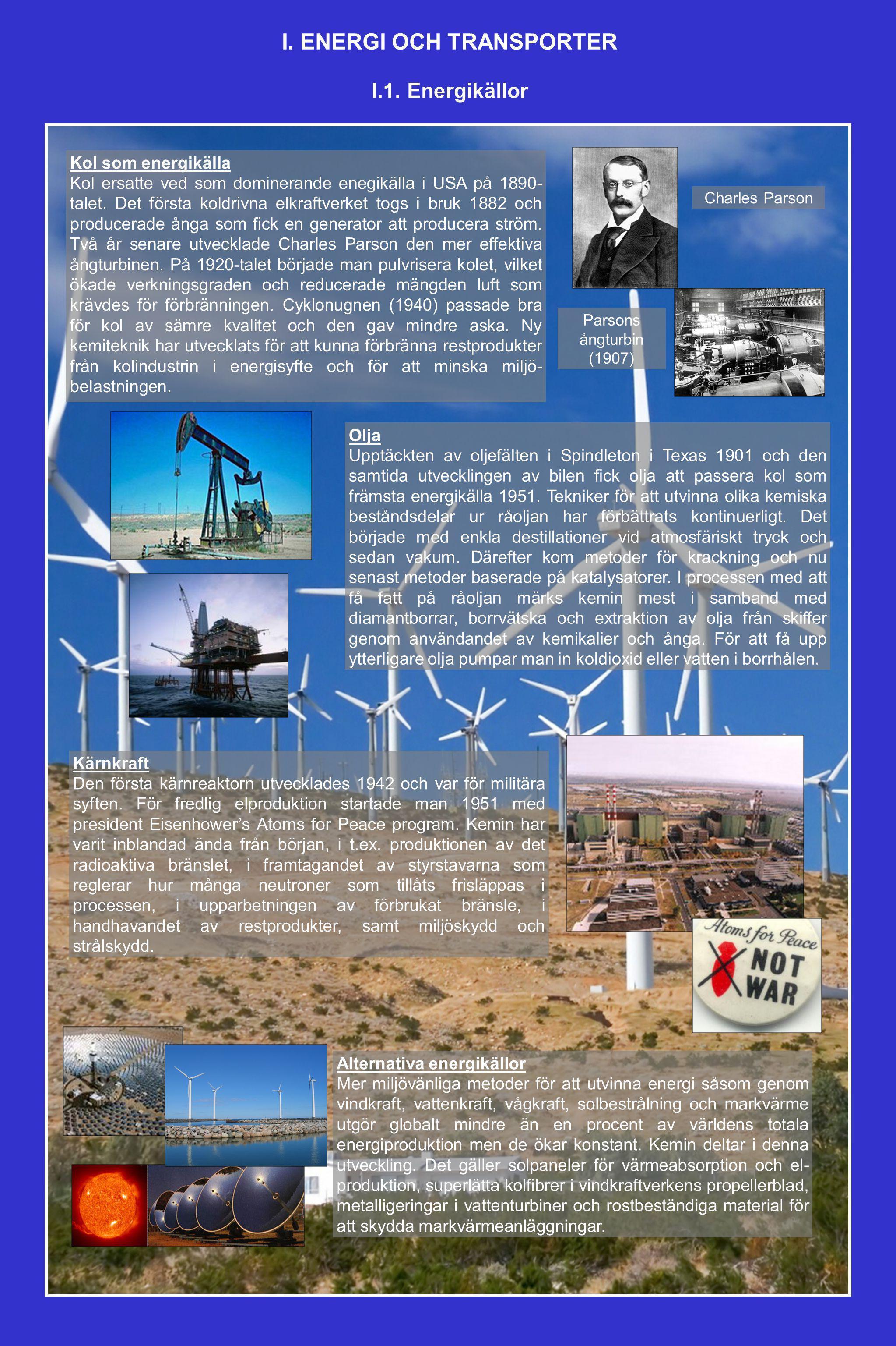 Kol som energikälla Kol ersatte ved som dominerande enegikälla i USA på 1890- talet. Det första koldrivna elkraftverket togs i bruk 1882 och producera