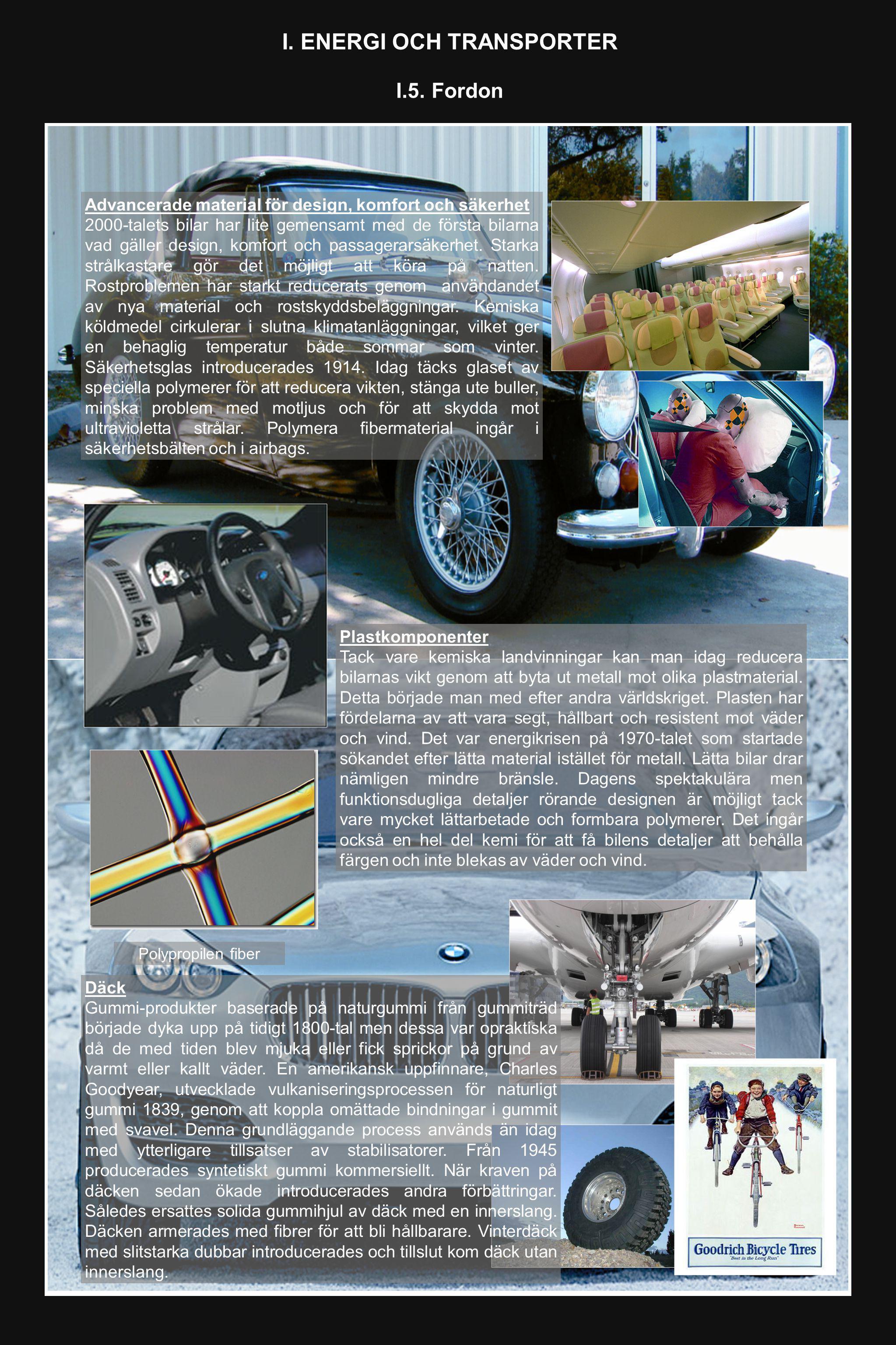 I. ENERGI OCH TRANSPORTER I.5. Fordon Advancerade material för design, komfort och säkerhet 2000-talets bilar har lite gemensamt med de första bilarna