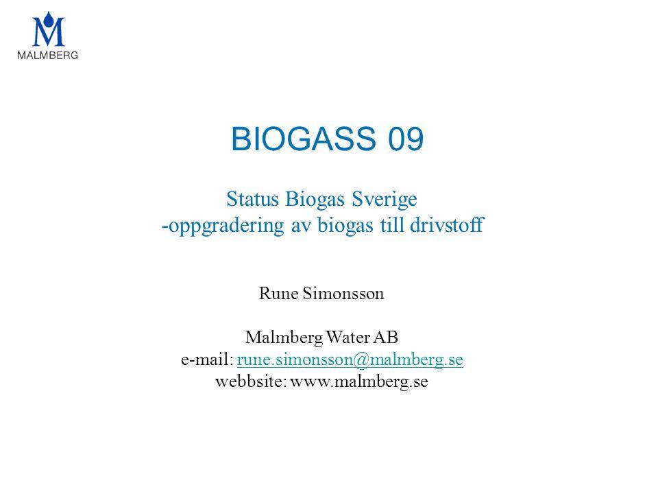 BIOGASS 09 Status Biogas Sverige -oppgradering av biogas till drivstoff Rune Simonsson Malmberg Water AB e-mail: rune.simonsson@malmberg.serune.simons