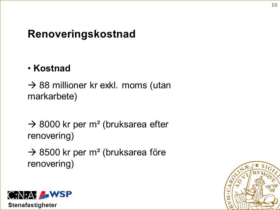 10 Stenafastigheter • Kostnad  88 millioner kr exkl.