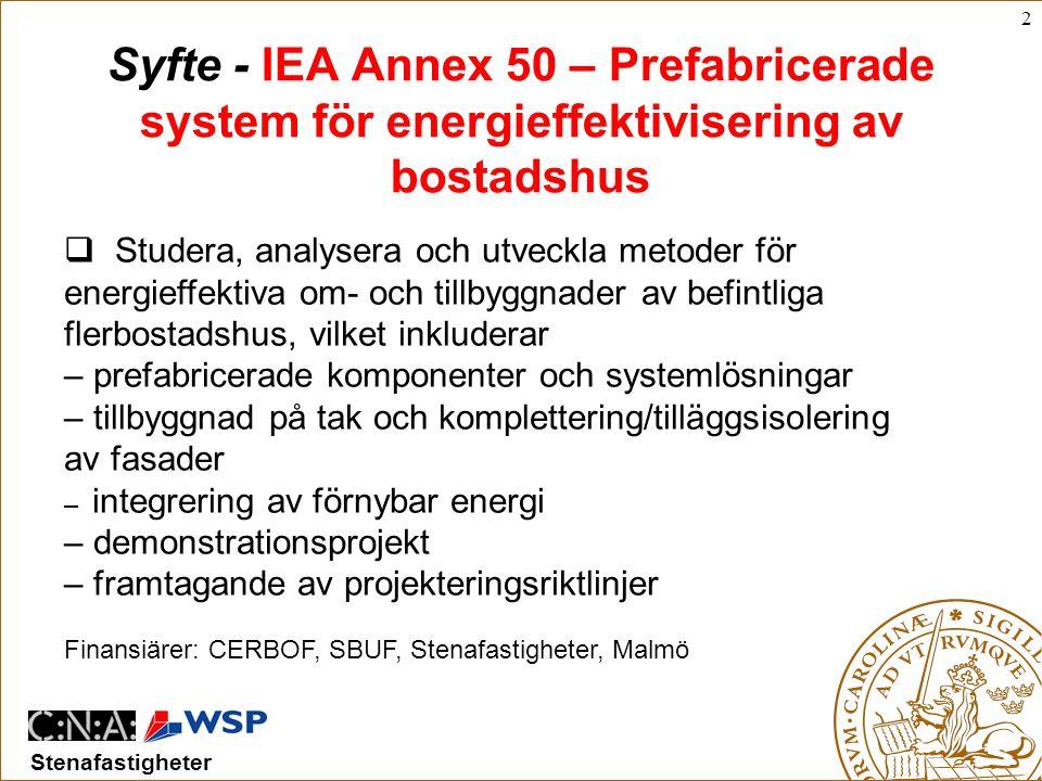 2 Stenafastigheter Syfte - IEA Annex 50 – Prefabricerade system för energieffektivisering av bostadshus  Studera, analysera och utveckla metoder för energieffektiva om- och tillbyggnader av befintliga flerbostadshus, vilket inkluderar – prefabricerade komponenter och systemlösningar – tillbyggnad på tak och komplettering/tilläggsisolering av fasader – integrering av förnybar energi – demonstrationsprojekt – framtagande av projekteringsriktlinjer Finansiärer: CERBOF, SBUF, Stenafastigheter, Malmö