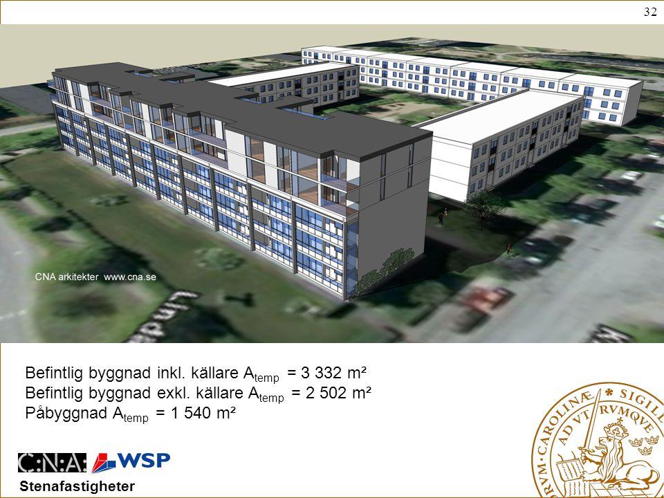 32 Stenafastigheter Befintlig byggnad inkl.källare A temp = 3 332 m² Befintlig byggnad exkl.