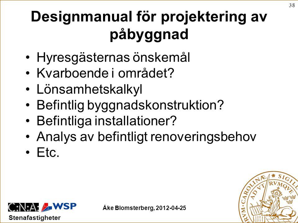 38 Stenafastigheter Åke Blomsterberg, 2012-04-25 Designmanual för projektering av påbyggnad •Hyresgästernas önskemål •Kvarboende i området.