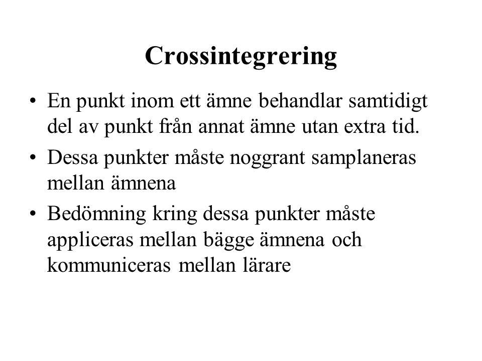 Crossintegrering •En punkt inom ett ämne behandlar samtidigt del av punkt från annat ämne utan extra tid. •Dessa punkter måste noggrant samplaneras me
