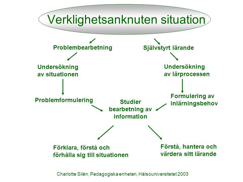 Charlotte Silén, Pedagogiska enheten, Hälsouniversitetet 2003 Förförståelse Undersöka Pröva Motivation